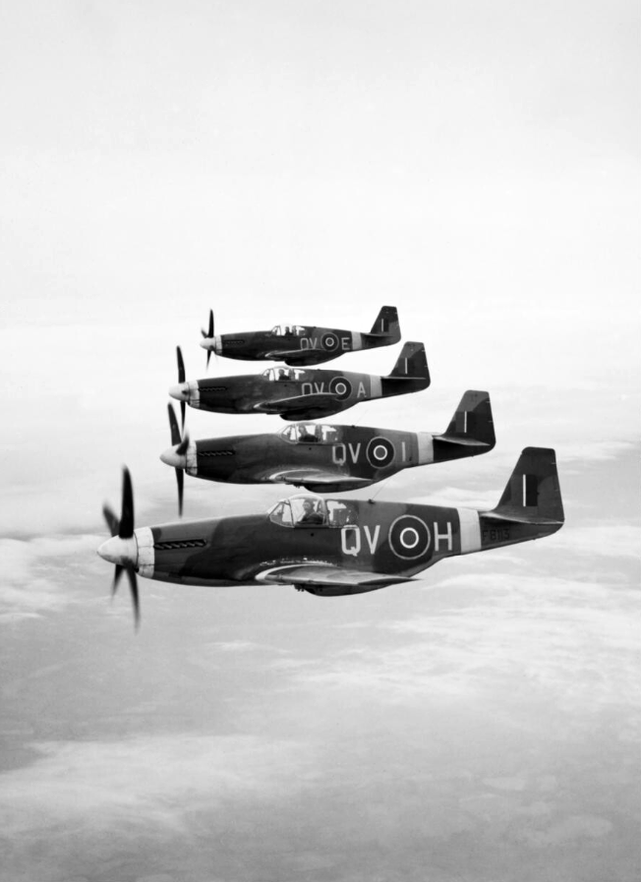 Mustang iiis 19 sqn raf in flight april 1944